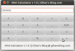 Mini Calculator v 1.0  Gihan's Blog.com